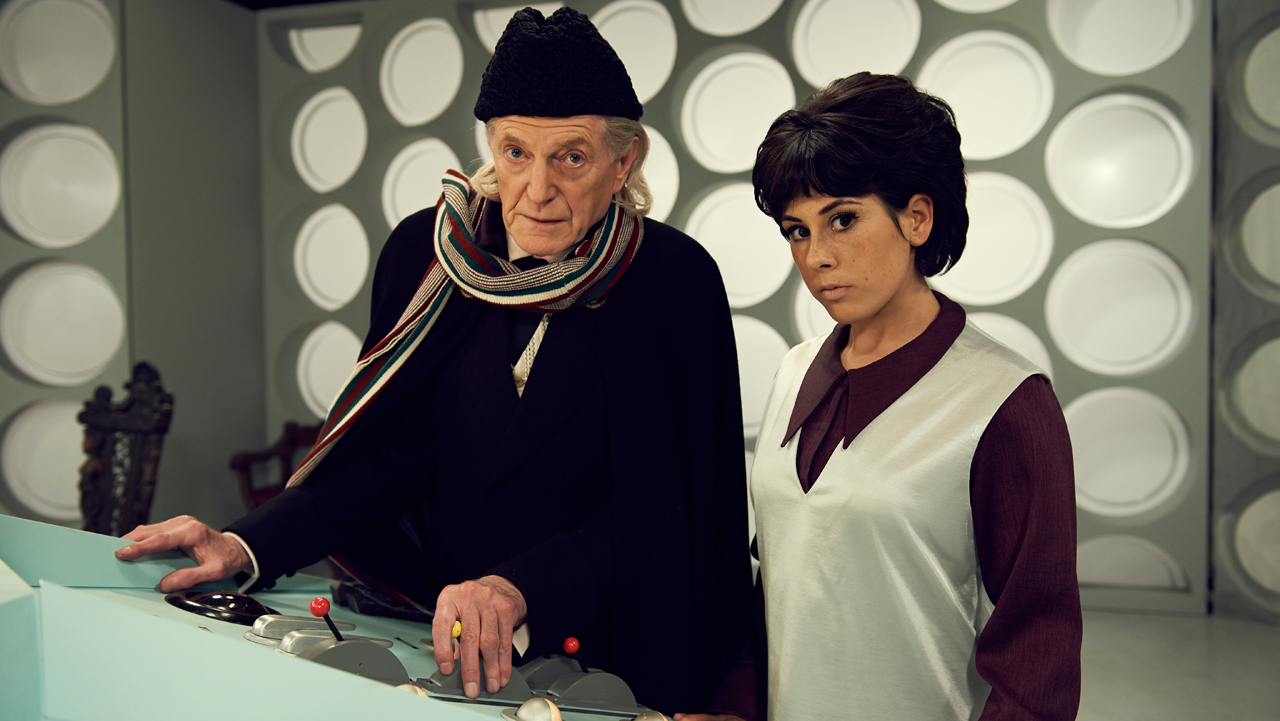 David Bradley as First Doctor William Hartnell and Claudia Grant as Carole Ann Ford, who played companion Susan Foreman, in the TARDIS.