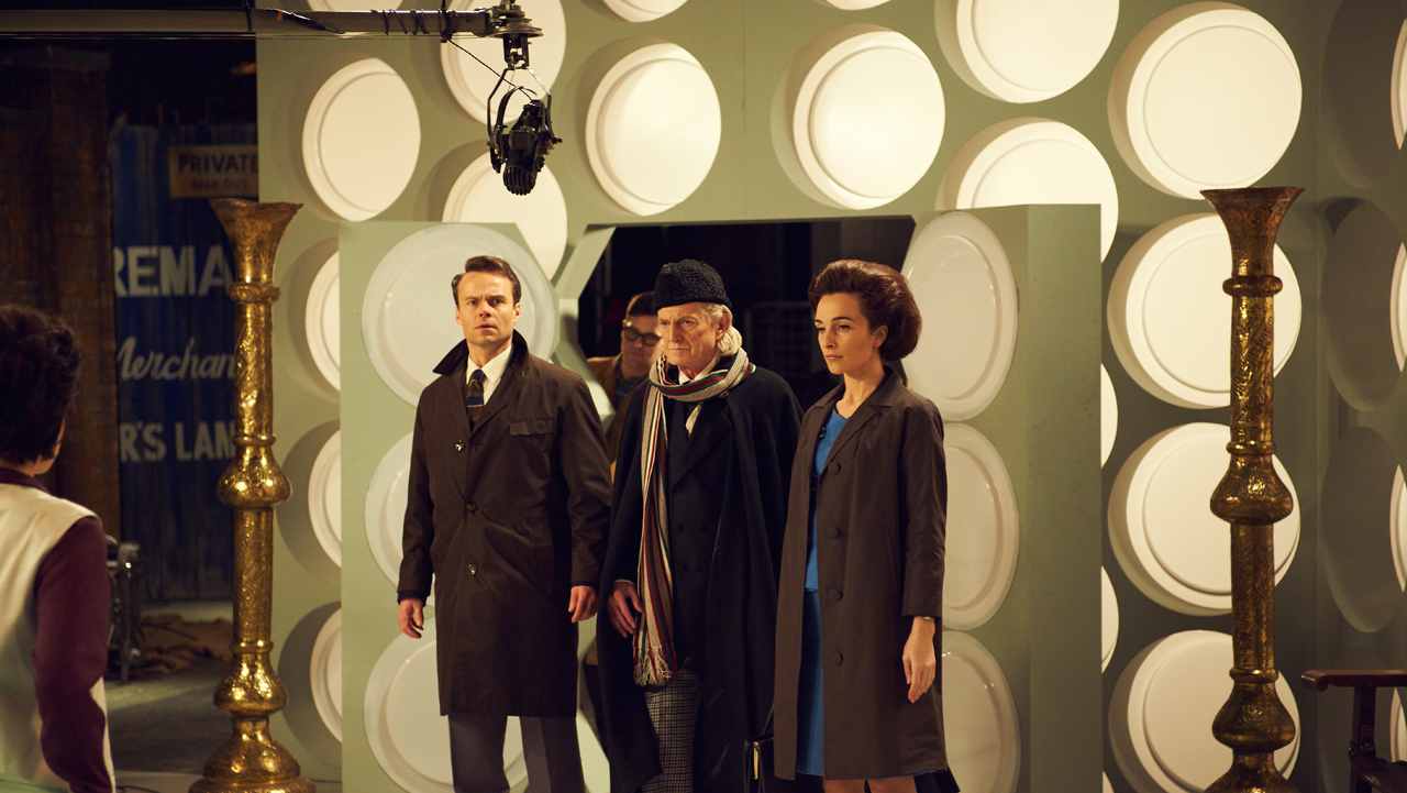 Jamie Glover as William Russell, who played Ian Chesterton, David Bradley as First Doctor William Hartnell and Jemma Powell as Jacqueline Hill, who played Barbara Wright.