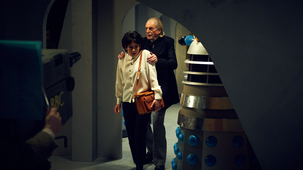 Claudia Grant as Carole Ann Ford, who played  Susan Foreman, and David Bradley as William Hartnell, The First Doctor.