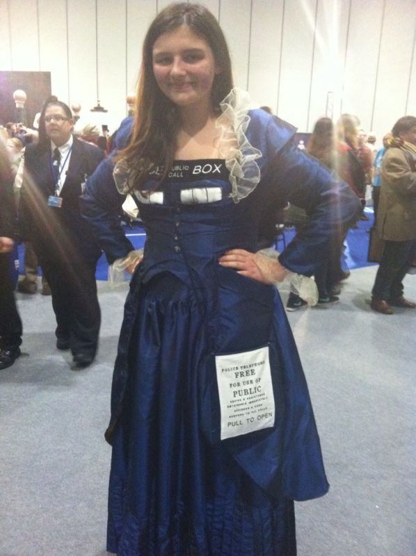 Rebecca P. in a TARDIS dress handmade by her mom. (Photo: Karen Parks)