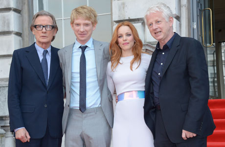 Bill Nighy, Domhnall Gleeson, Rachel McAdams and Richard Curtis at the premiere of About Time on August 8, 2013 in London. (Photo: Jon Furniss/Invision /AP)