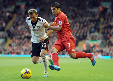 Liverpool's Luis Suarez (right), a key to the team's success this season, battles with Fulham's Elsad Zverotic in their November 9 match. (Photo: AP/Clint Hughes)