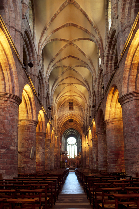 Interior of St. Magnus Cathedral, dating from 1137, built of sandstone ... (Photo by: Patrick Dieudonne/Robert Harding /AP Images)