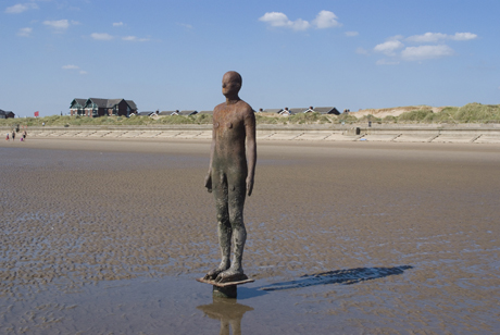One of the 100 Men of Another Place, also known as The Iron Men, this statue was created by Antony Gormley, Crosby Beach near Liverpool, England. (Ethel Davis/Robert Harding /AP Images)
