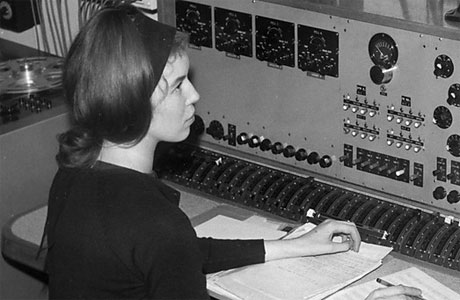 Delia Derbyshire, hard at work making audio magic happen.