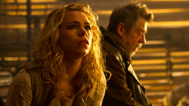 Billie Piper as Rose Tyler and John Hurt as The Doctor.