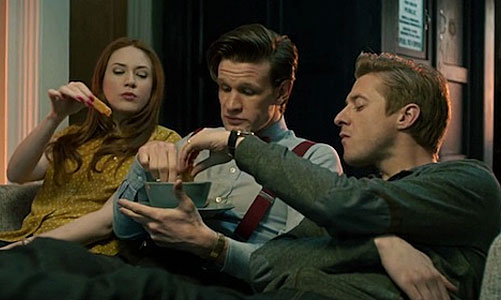 "Amy, the Doctor and Rory share a snack in ""The Power of Three"""