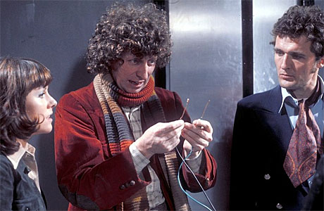 Sarah Jane, the Doctor and Harry ponder genocide in 'Genesis of the Daleks'