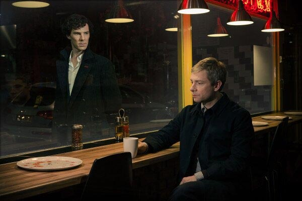 Benedict Cumberbatch and Martin Freeman share a cuppa.