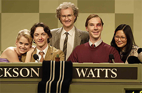 Alice Eve, James McAvoy, Mark Gatiss, Benedict Cumberbatch and Elaine Tan in 'Starter for 10'