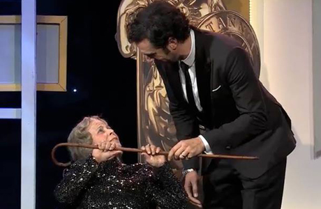 Sacha Baron Cohen's hilariously shocking moment at this year's Britannia awards make our list of funniest celebrity moments. (Photo via BBC AMERICA)