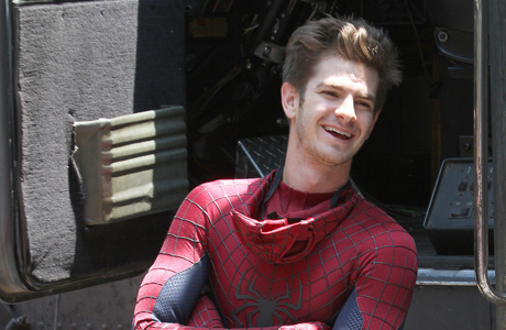 Is that Peter Parker? Or Spider-Man? ... oh, it's Andrew Garfield filming in NYC. (AP Photo/ Donald Traill)