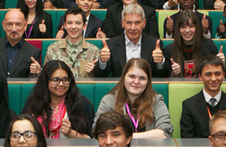Ben Kingsley and the cast of Ender's Game make a surprise appearance at a secondary school in London. (FilmClub)