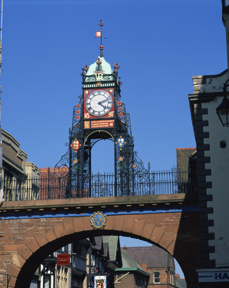 The East Gate Clock, located in Chester, Cheshire, England has a festive flair. (Robert Harding /AP)