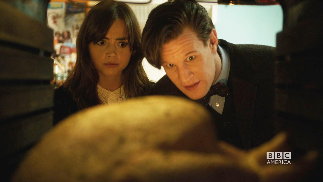 Clara, the Doctor, and their turkey chum