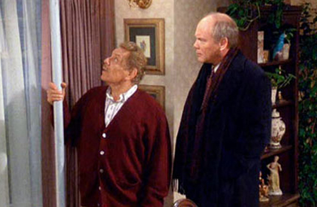 Frank Costanza (Jerry Stiller) gets out the Festivus pole. (NBC)