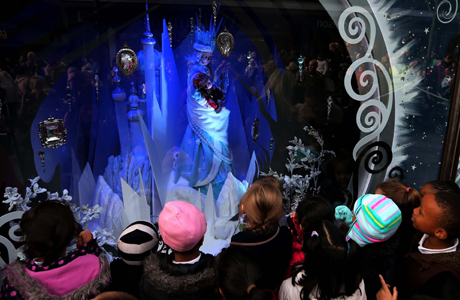 Fenwick Newcastle unveil Christmas window.  EDITORIAL USE ONLY: Crowds gather as Fenwick, Newcastle unveils its Fairy Tale Forest themed Christmas window.  Picture date: Friday November 8, 2013. This year's animated windows are inspired by the key elements of classic fairy tales, all displayed in 3D to bring each window's narration to life. The Fairy Tale Forest window scheme begins with the Sugar Plum Fairy who is surrounded by books and appears to be reading the various tales of the forest. The windows then go on to show other traditional characters who live inside the forest, including Hansel and Gretel, Jack Frost and Little Red Riding Hood. Photo credit should read: Scott Heppell/PA Wire URN:18138699