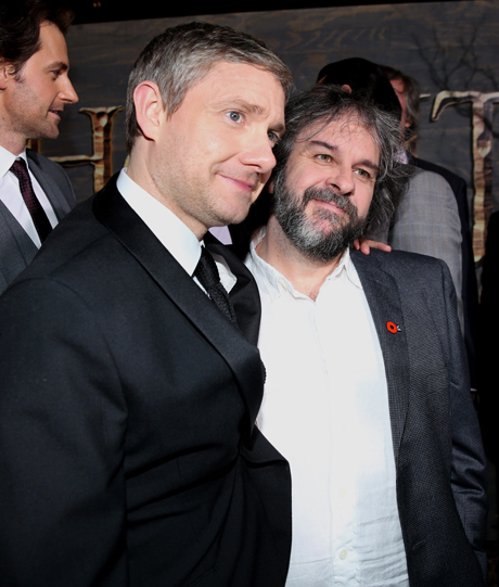 Martin Freeman gives Peter Jackson a cuddle on the way into the premiere. (Matt Sayles/Invision/AP)