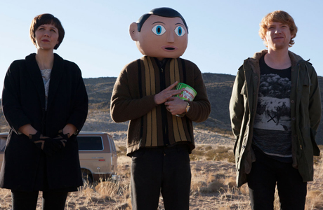 Maggie Gyllenhaal, Michael Fassbender and Domhnall Gleeson in 'Frank'