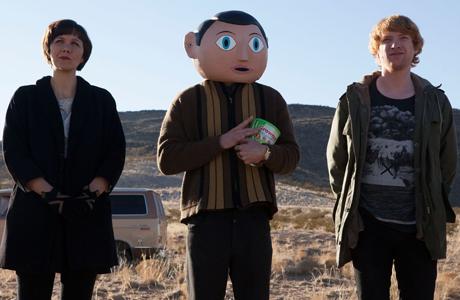 Maggie Gyllenhaal, Michael Fassbender and Domhnall Gleeson in 'Frank'