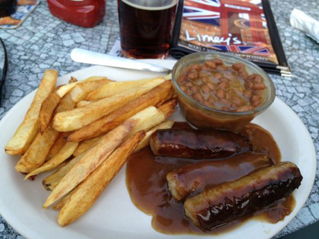 "Limey's serves the ""BBC"" = bangers, beans and chips. (Yelp)"