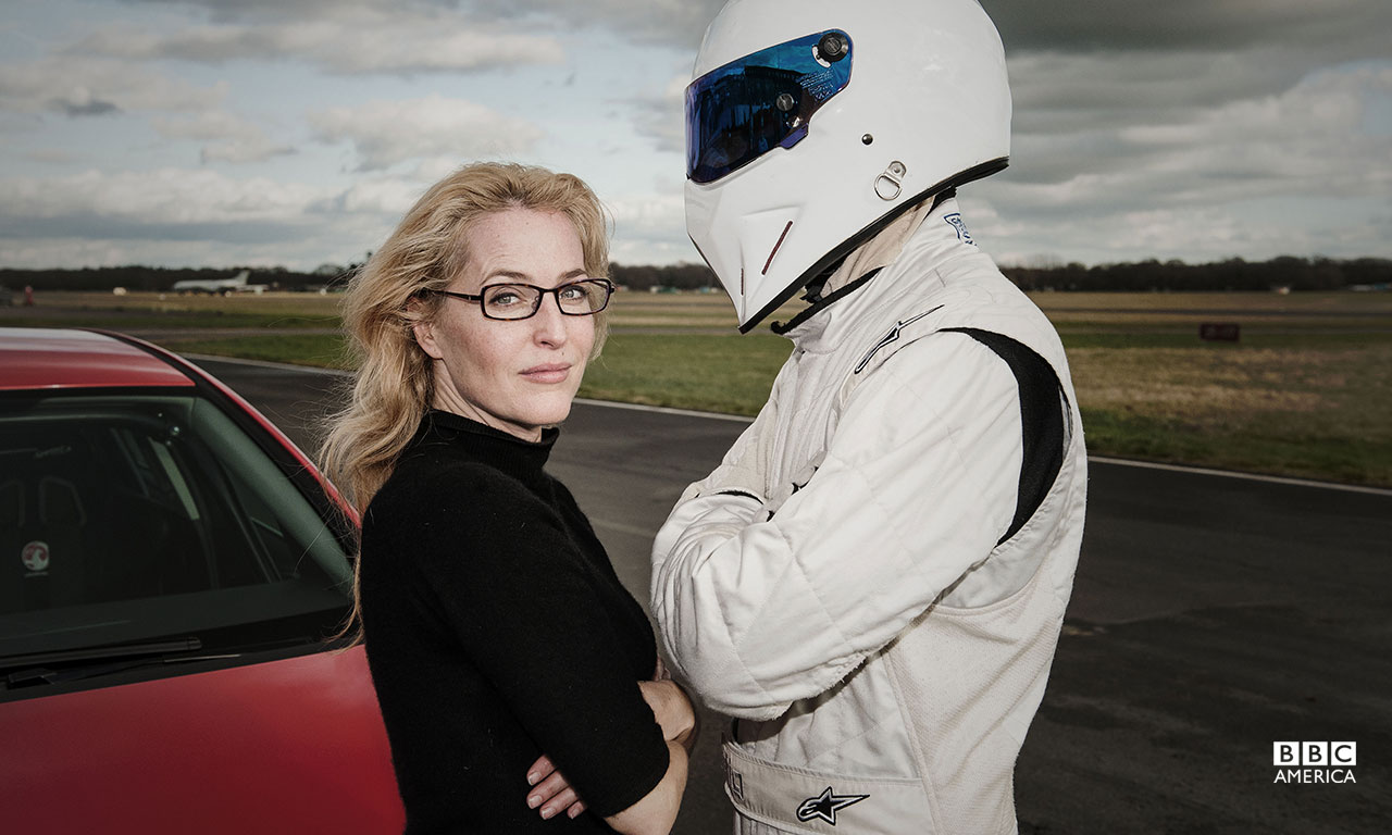 Gillian Anderson with The Stig