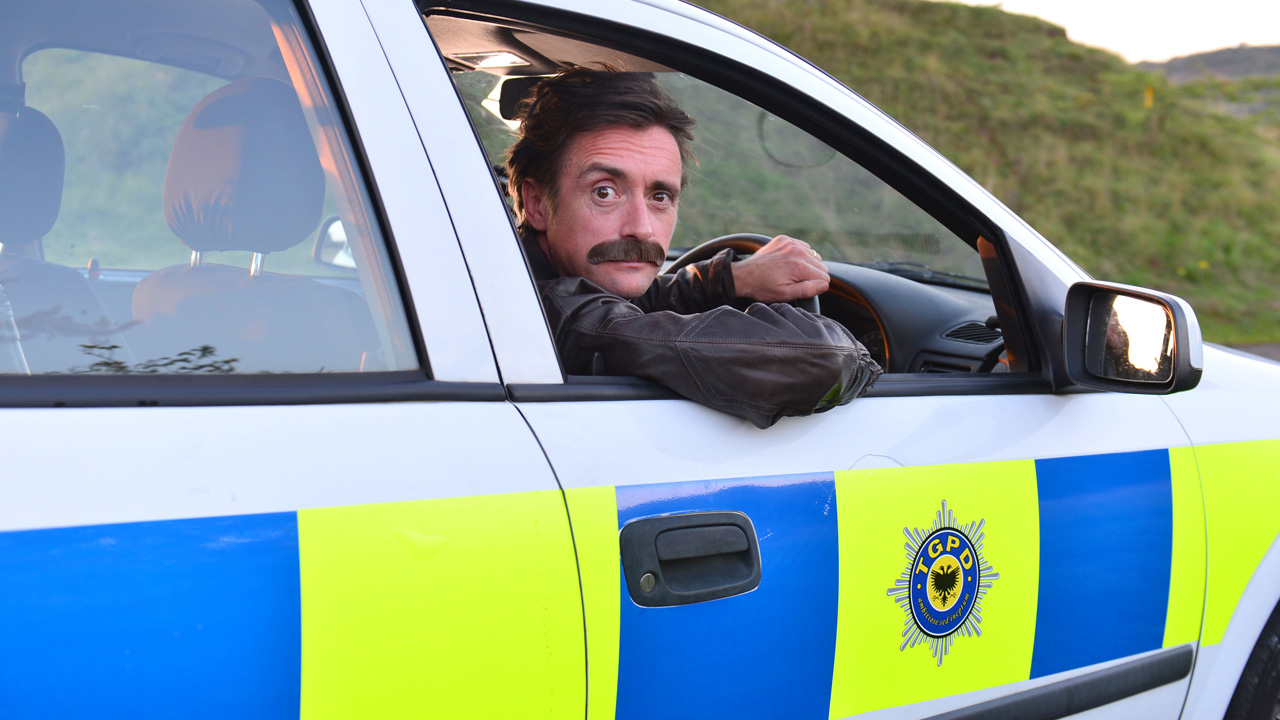 Richard Hammond in the Top Gear Police Department Vauxhall Astra.