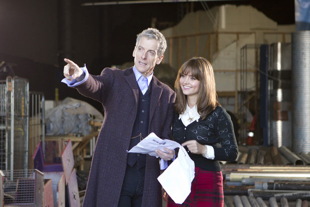 Peter Capaldi and Jenna Coleman on set