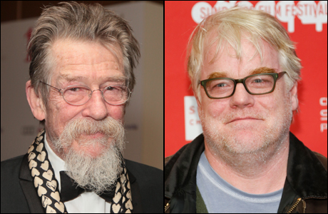 John Hurt co-starred with Philip Seymour Hoffman in the 2003 film 'Owning Mahowny.' (Hurt photo: Jon Furniss Photography/Invision/AP Images; Hoffman photo: Danny Moloshok/Invision/AP)