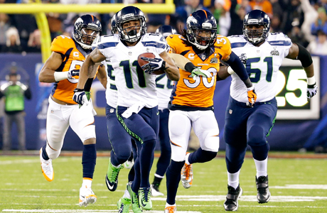 Seahawks vs. Broncos: Brits dig the eyeliner, but the padding is a bit much. (Photo: AP/Ted S. Warren)
