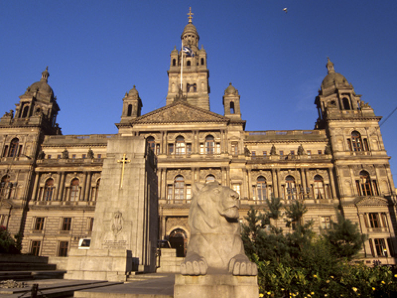 George Square and City Chambers dating from 1888, Glasgow, Scotl
