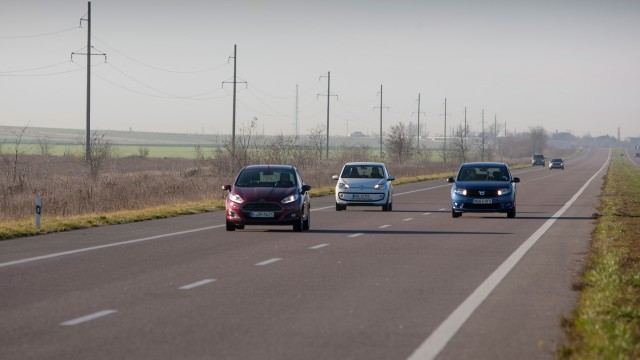 Richard Hammond, Jeremy Clarkson and James May driving their Ford Fiesta, Volkswagen Up and Dacia Sandero in the Ukraine