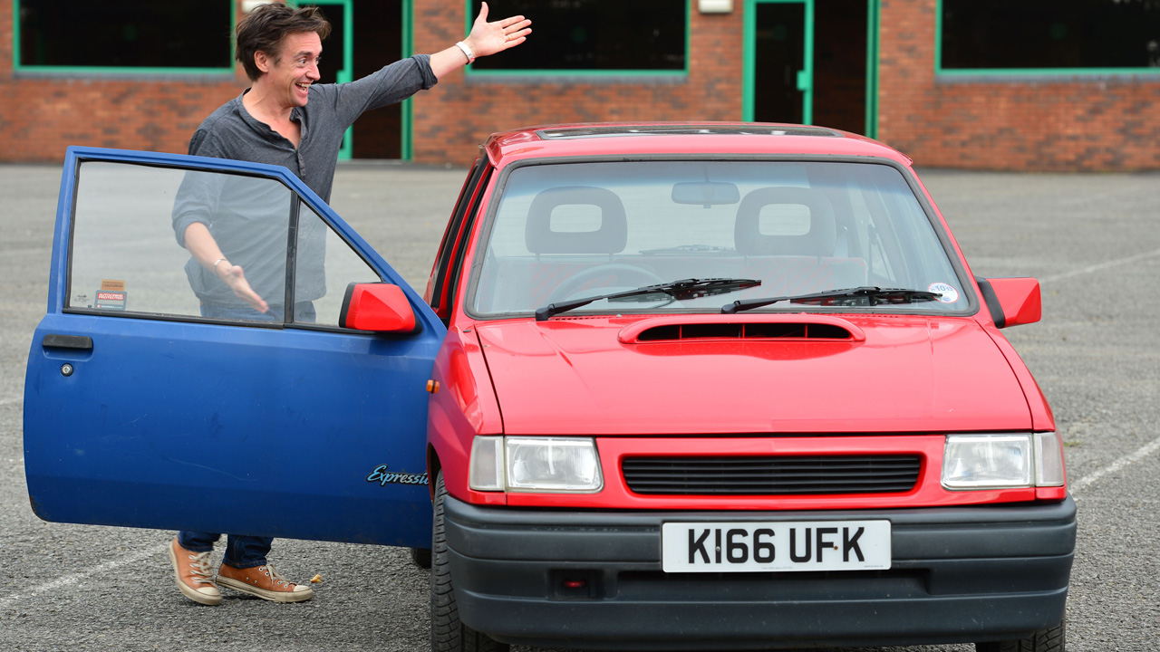 Richard Hammond displaying his Vauxhall Nova SRI.