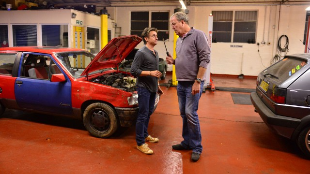 Richard Hammond and Jeremy Clarkson in the Top Gear antique restoration center.