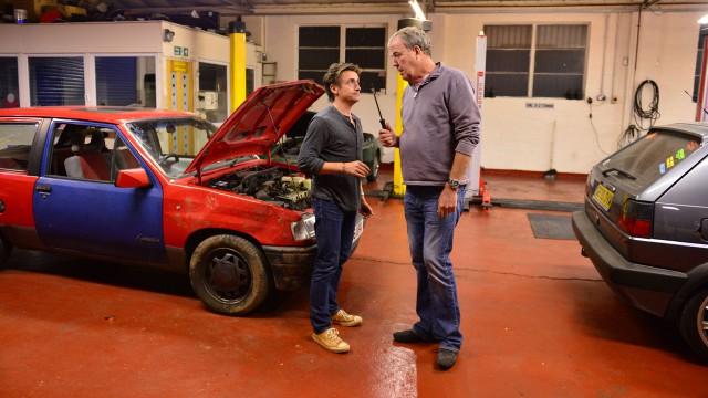 Richard Hammond and Jeremy Clarkson in the Top Gear antique restoration center.