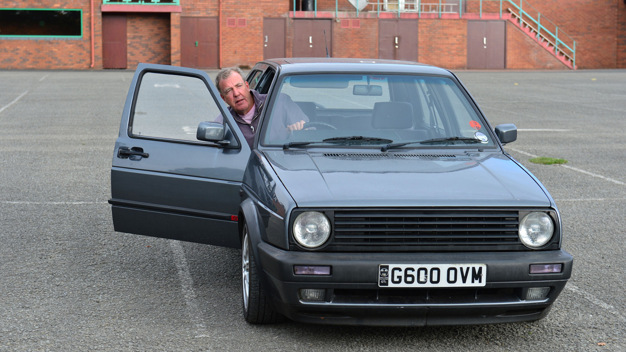 Jeremy Clarkson in his Volkswagen Golf GTi
