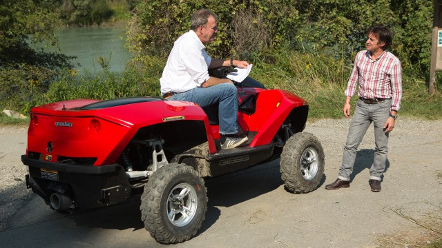 Jeremy Clarkson on a Gibbs Amphibious Quadski with Richard Hammond by Lake Como