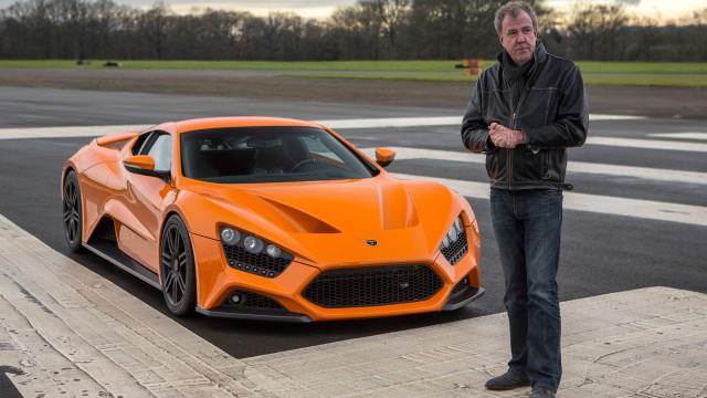 Jeremy Clarkson with the Zenvo ST1 at the Top Gear test track