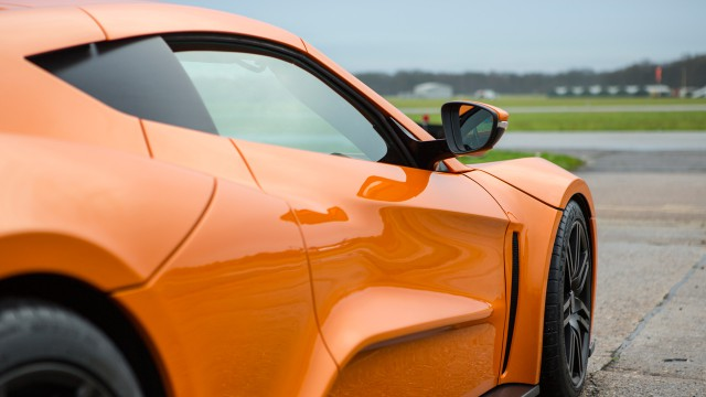 Jeremy Clarkson driving the Zenvo ST1 at the Top Gear test track
