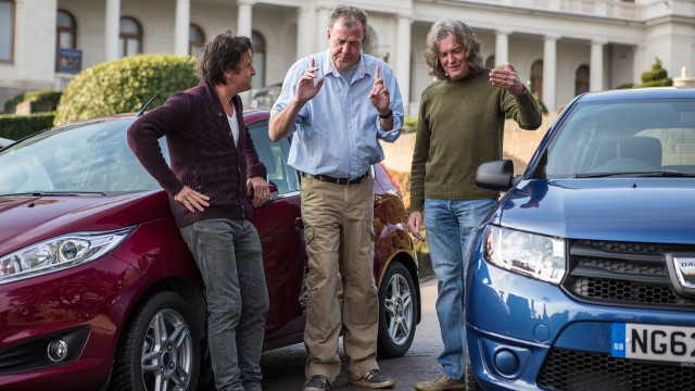 Richard Hammond, Jeremy Clarkson and James May with the Ford Fiesta and Dacia Sandero at Livadia Palace in Ukraine