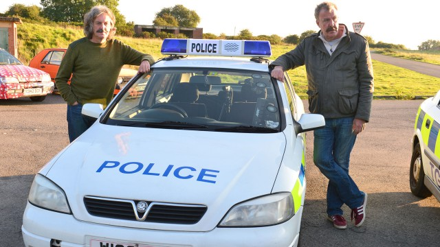 James May and Jeremy Clarkson with a Top Gear Police Department Vauxhall Astra.