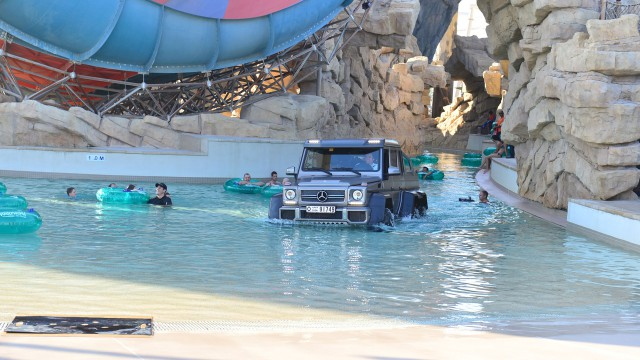Richard Hammond driving the Mercedes Benz G63 6x6 through Yas Waterworld in Abu Dhabi