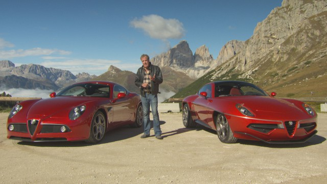 Jeremy Clarkson with an Alfa Romeo 8C and the Disco Volante