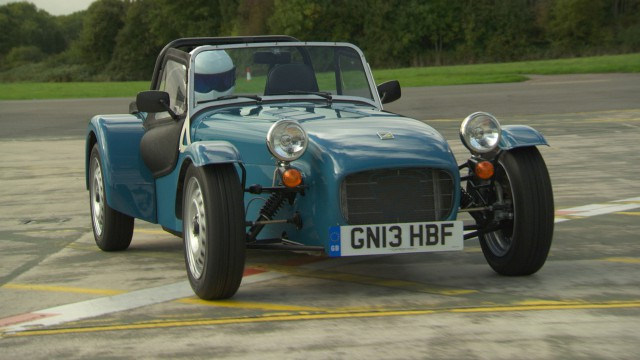 The Stig in the Caterham 160 at The Top Gear Test Track