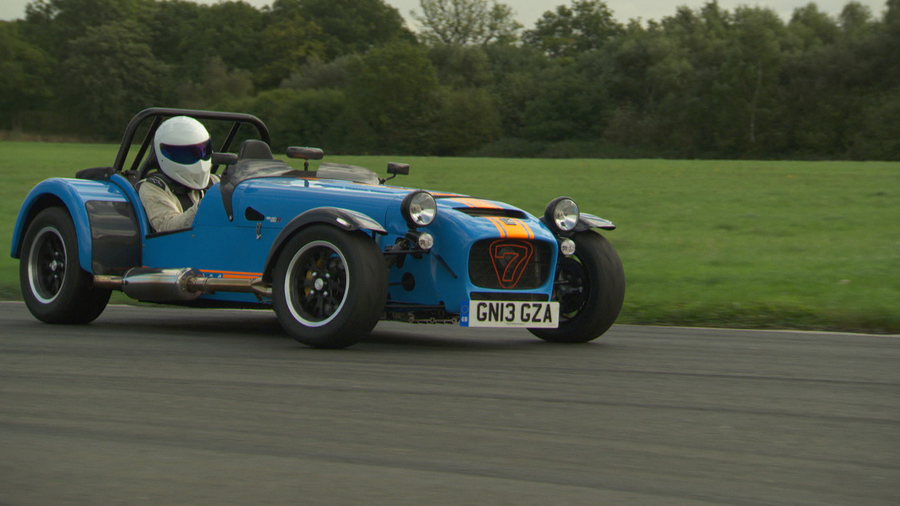 The Stig in the Caterham 620R at The Top Gear Test Track