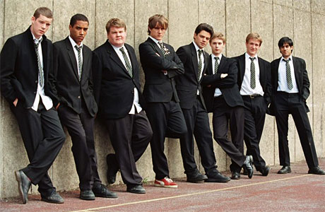 The History Boys boys (L-R: Russell Tovey, Samuel Anderson, James Corden, Andrew Knott, Dominic Cooper, Samuel Barnett, Jamie Parker and Sacha Dhawan)