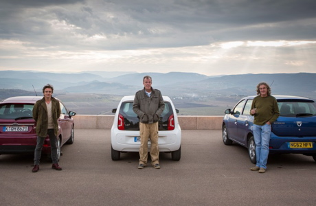Hammond, Clarkson and May. from left to right, with the site of the Charge of the Light Brigade behind them. (BBC AMERICA)