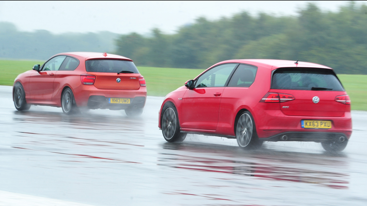 The Volkswagen Golf GTI and BMW M135i at the Top Gear Test Track