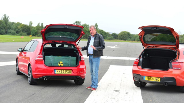 Jeremy Clarkson with the Volkswagen Golf GTI and BMW M135i at the Top Gear Test Track
