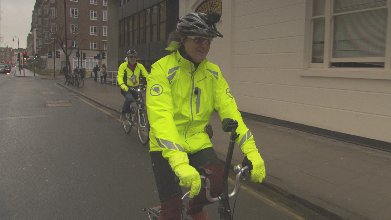James May and Jeremy Clarkson on bikes in central London
